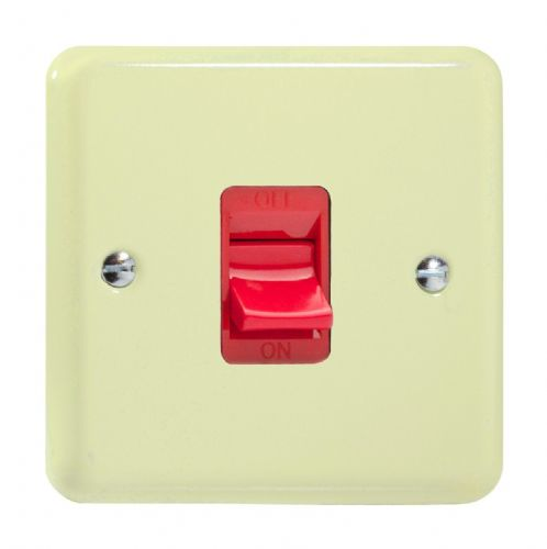 Varilight XY45S.WC Lily Pastel White Chocolate 45A DP Cooker Switch Single Plate